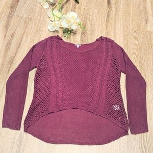 Burgundy Sheer Long Sleeve Sweater-S